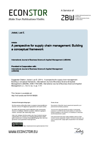 A perspective for supply chain management: Building a